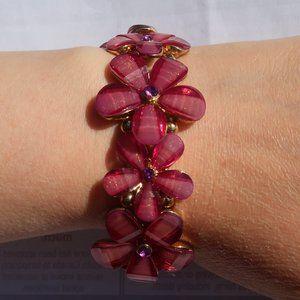 Floral Pink & Gold Elastic Stretch Bracelet